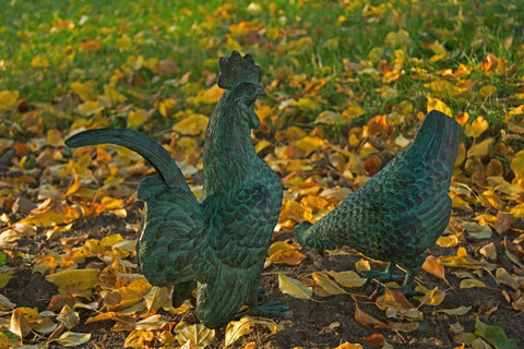 Hen and Rooster Bronze Garden Statue - Brass Baron - Outdoor Art Pros