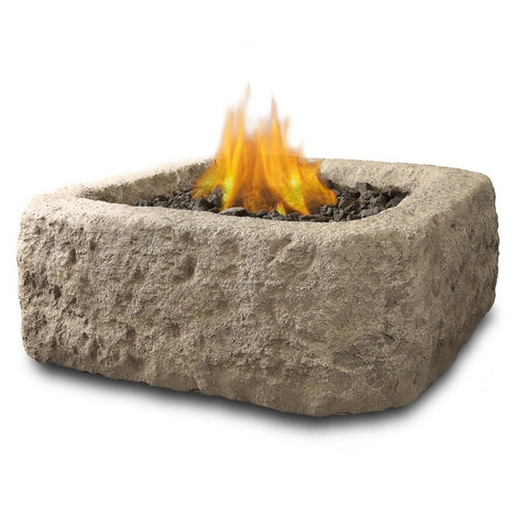 Antique Stone Square Propane Fire Pit - Outdoor Art Pros