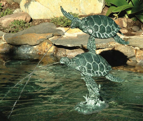 Sea Turtles Garden Fountain - Brass Baron - Outdoor Art Pros