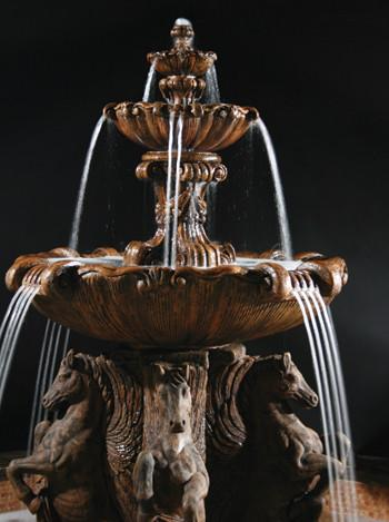 2-Tier Cavalli Outdoor Water Fountain for Pond - Outdoor Art Pros