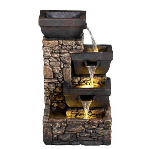 "20"" Catania 4-Tier Cascading Waterfall Fountain with LED Lights - Outdoor Art Pros"
