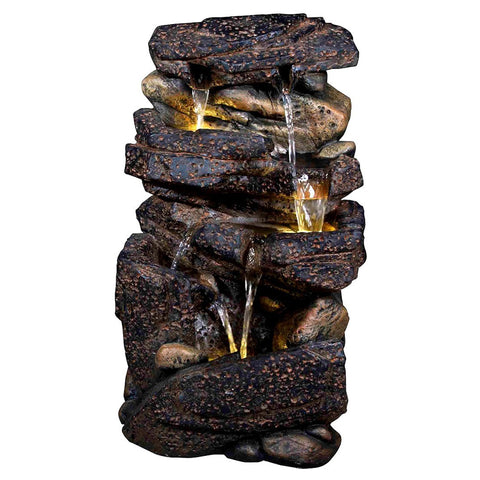 "20"" Lassen Stone Waterfall Rock Fountain with LED Lights - Outdoor Art Pros"