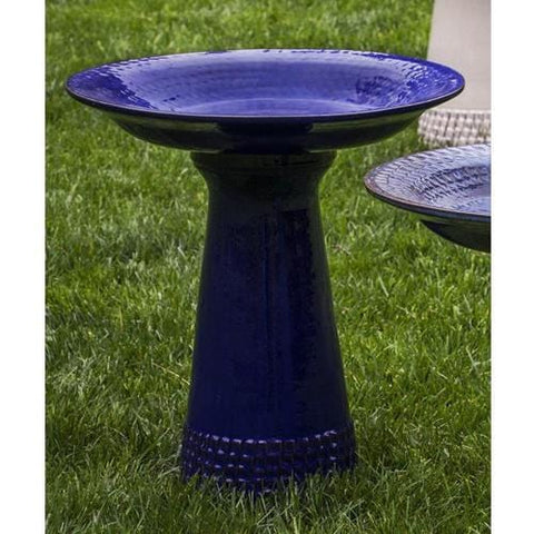 Riviera Blue Tattersall Birdbath - Outdoor Art Pros