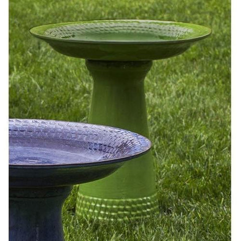 Yellow Green Tattersall Birdbath - Outdoor Art Pros