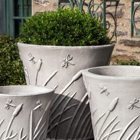 Flared Dragonfly Planter Set of 3 in Cream - Outdoor Art Pros