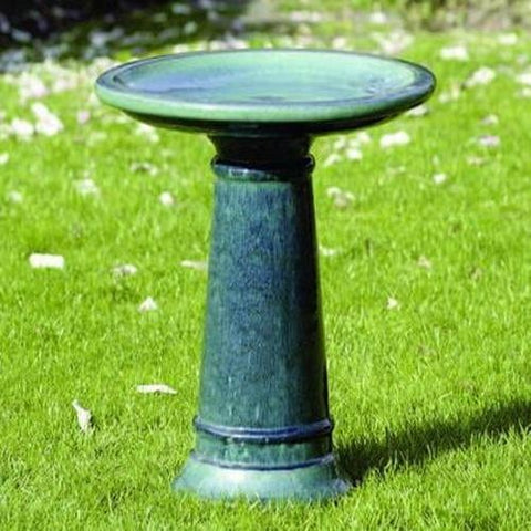 Petrol Glazed BirdBath - Outdoor Art Pros