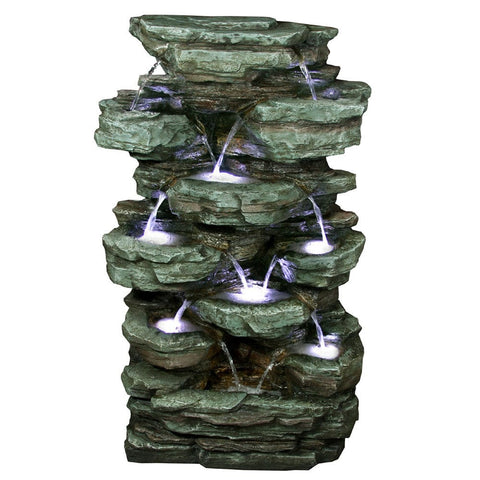 Tiered Rock Rainforest Fountain With White LED Lights - Outdoor Art Pros
