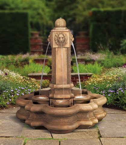 Classic Lion Pillar Cast Stone Outdoor Fountain - Outdoor Art Pros