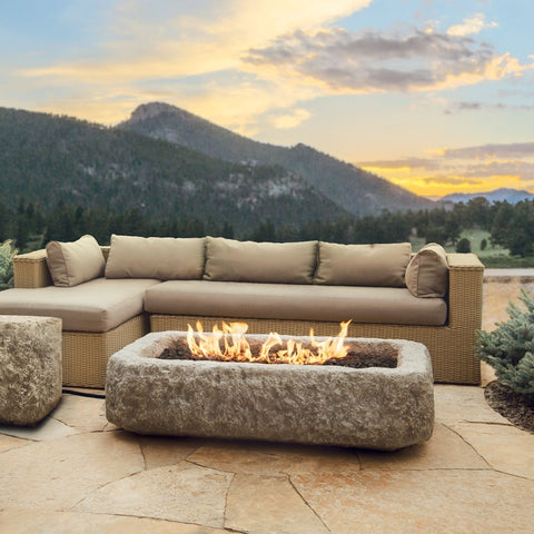 Antique Stone Rectangle Fire Pit - Outdoor Art Pros
