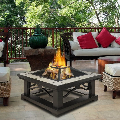 Crestone Wood Burning Fire Pit - Gray Tile  - Outdoor Art Pros