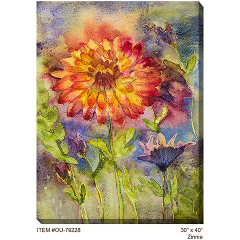 Zinnia Outdoor Canvas Art - Outdoor Art Pros