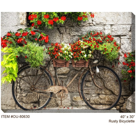 Rusty Bicyclette Outdoor Canvas Art - Outdoor Art Pros