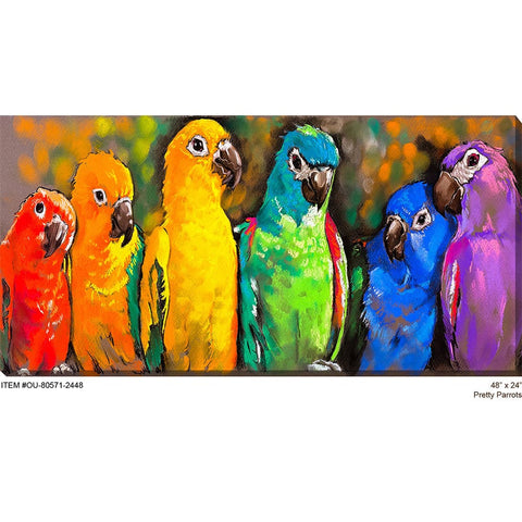 Pretty Parrots Outdoor Canvas Art - Outdoor Art Pros