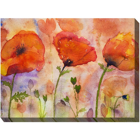 Three Poppies Outdoor Canvas Art - Outdoor Art Pros