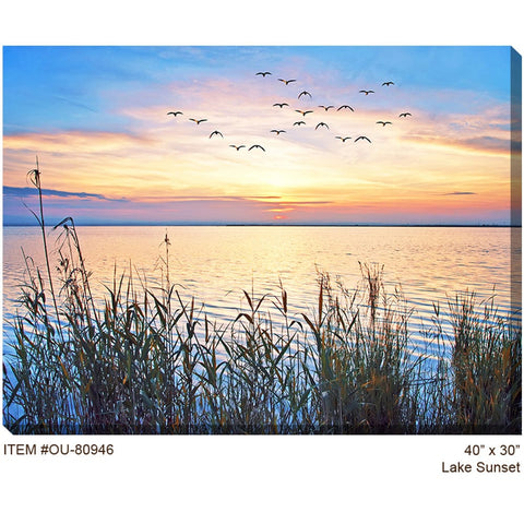 Lake Sunset Outdoor Canvas Art - Outdoor Art Pros