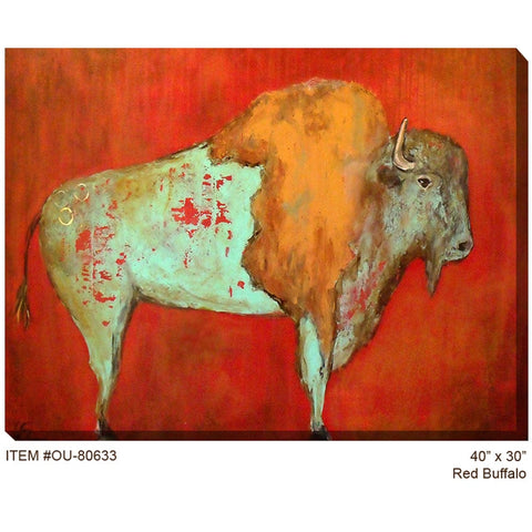 Red Buffalo Outdoor Canvas Art - Outdoor Art Pros