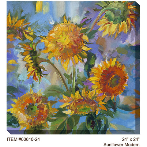 Sunflower Modern Outdoor Canvas Art - Outdoor Art Pros
