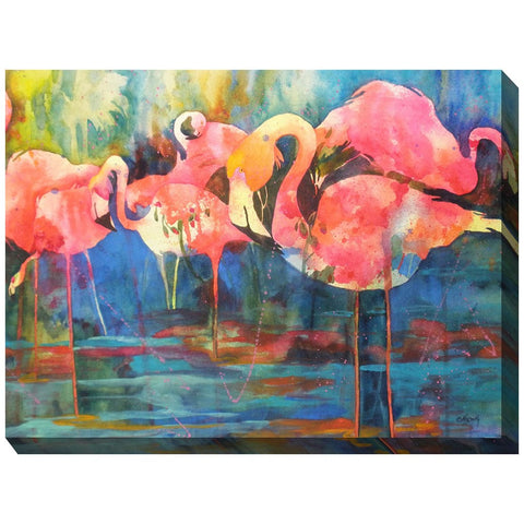 Flirty Flamingos Outdoor Canvas Art - Outdoor Art Pros