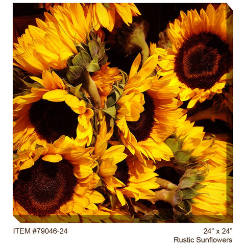 Rustic Sunflowers Outdoor Canvas Art - Outdoor Art Pros