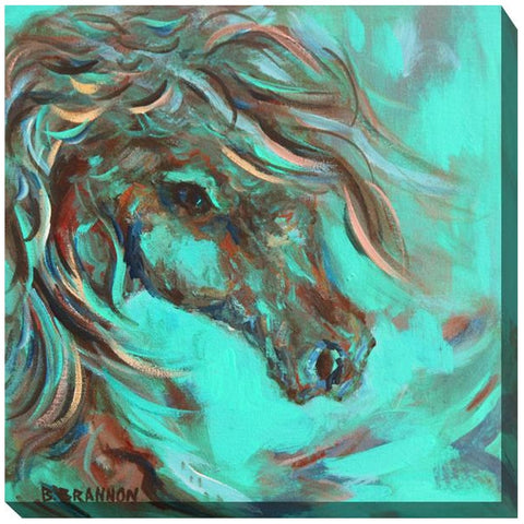 Teal Horse #2 Outdoor Canvas Art - Outdoor Art Pros