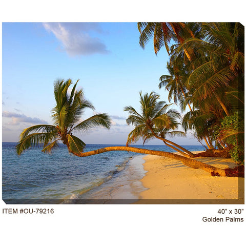 Golden Palms Outdoor Canvas Art - Outdoor Art Pros