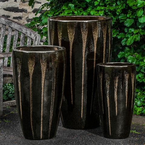 Alessia Planter Set of 3 in Chocolate Stout - Outdoor Art Pros