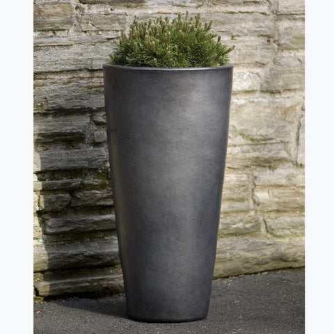 Aluan Tall Round Planter in Graphite - Outdoor Art Pros