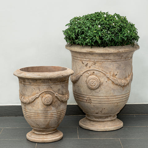 Anduze Urn Set of 2 in Antico Terra Cotta - Outdoor Art Pros