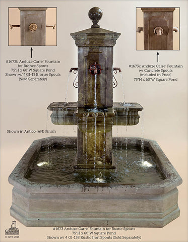 Anduze Carre Fountain with Square Pond - Outdoor Art Pros