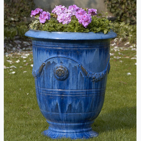 Anduze Urn Set of 3 in Riviera Blue - Outdoor Art Pros
