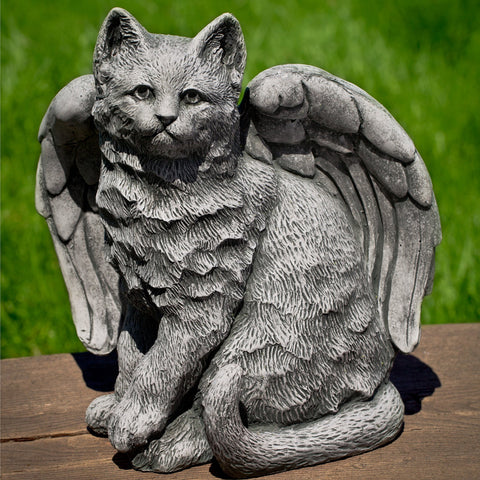 Angel Kitty Cast Stone Garden Statue - Outdoor Art Pros