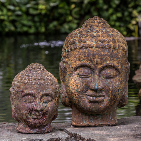 Angkor Buddha Head Small and Large Garden Statue - Outdoor Art Pros