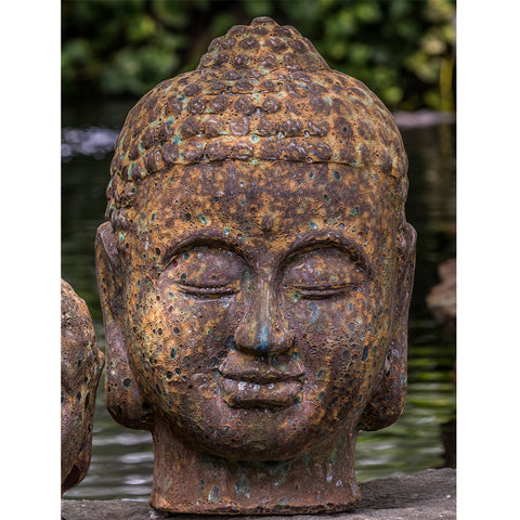 Angkor Buddha Head Large Garden Statue - Outdoor Art Pros