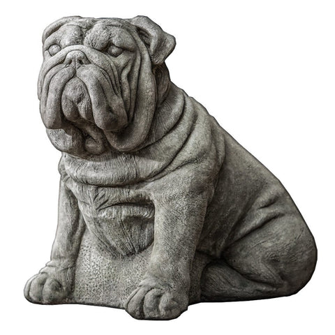 Antique Bulldog Cast Stone Garden Statue - Outdoor Art Pros