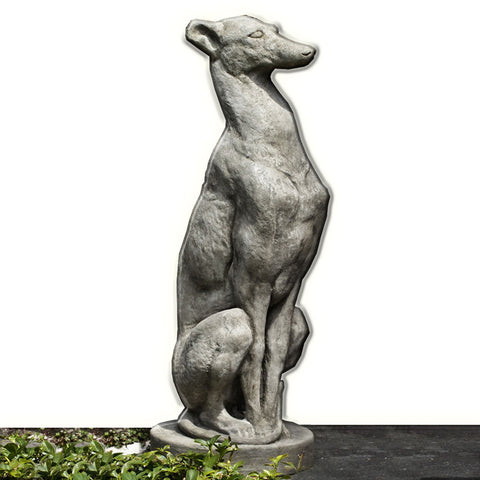 Antique Greyhound Cast Stone Garden Statue - Outdoor Art Pros
