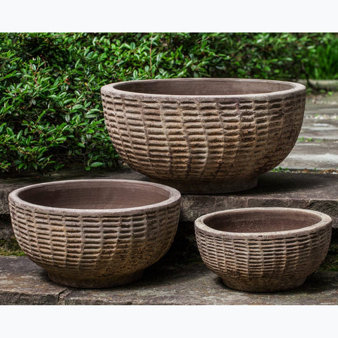 Antique Lattice Basket - Set of 3 in Antico Terra Cotta - Outdoor Art Pros