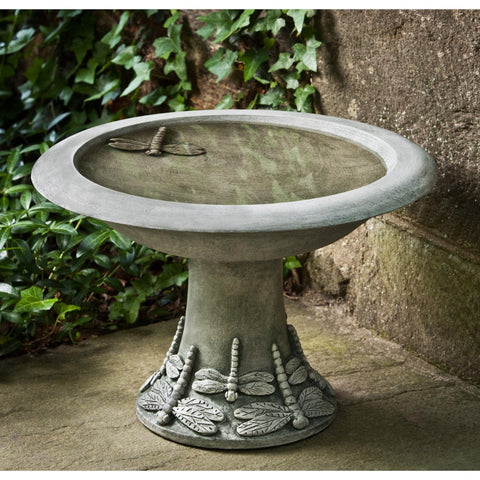 Small Dragonfly Cast Stone Birdbath - Outdoor Art Pros