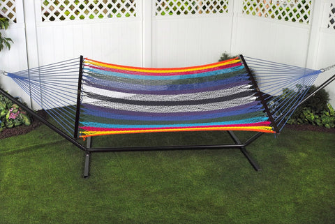 Bliss 2 Person Classic Multi-Color Cotton Rope Hammock - Outdoor Art Pros