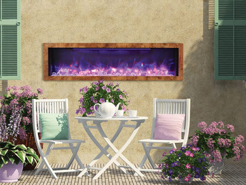 "60"" Deep Indoor or Outdoor Built-in Electric Fireplace with Black Steel Surround - Outdoor Art Pros"