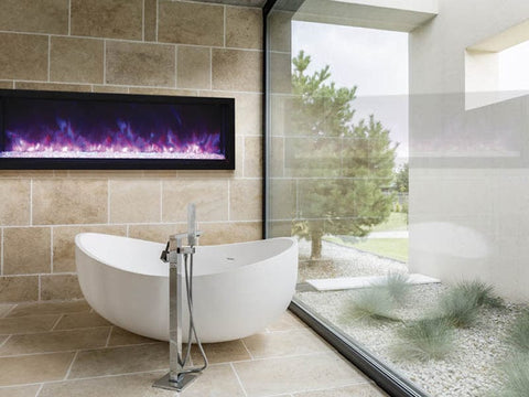 "60"" Extra Slim Indoor or Outdoor Built-in Electric Fireplace with Black Steel Surround - Outdoor Art Pros"