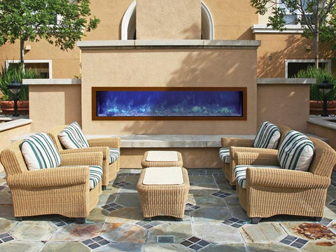 "72"" Slim Indoor or Outdoor Built-in Electric Fireplace with Black Steel Surround - Outdoor Art Pros"