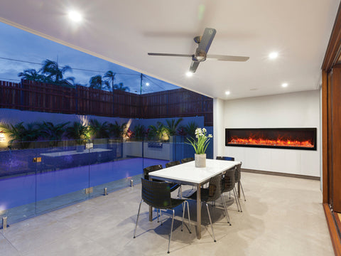 "88"" Deep Indoor or Outdoor Built-in Electric Fireplace with Black Steel Surround - Outdoor Art Pros"