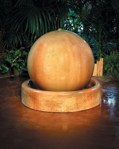 Ball And Ring Base Garden Water Fountain - Fountains - Outdoor Art Pros