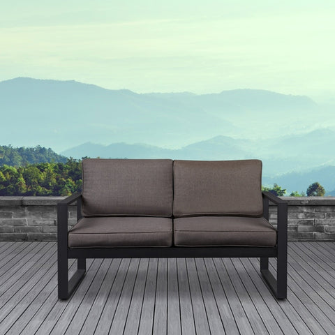 Baltic Outdoor Love Seat - Black Frame with Desert Brown Cushions - Outdoor Art Pros