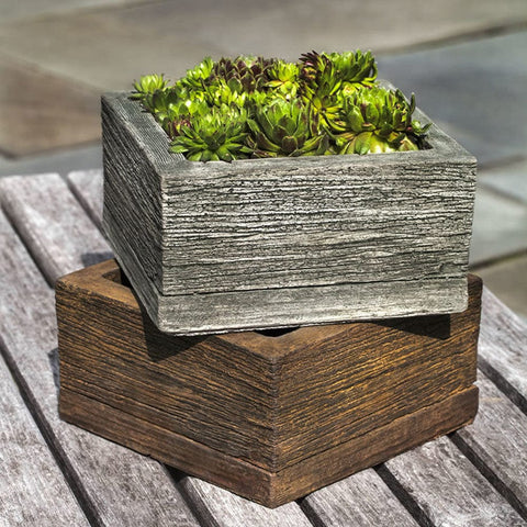 Barn Board Small Square Garden Planter - Planters - Outdoor Art Pros