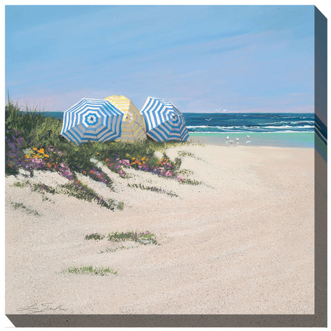 Beach Umbrellas Outdoor Canvas Art - Outdoor Art Pros