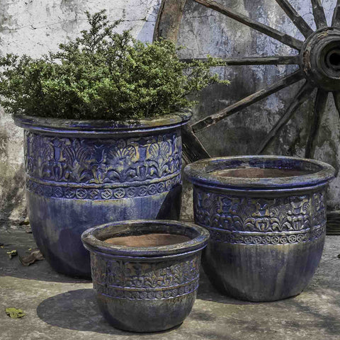 Belize Planter Set of 3 - Rustic Ironstone Blue - Outdoor Art Pros