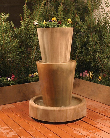 Bi Level Jug With Planter Garden Water Fountain - Fountains - Outdoor Art Pros