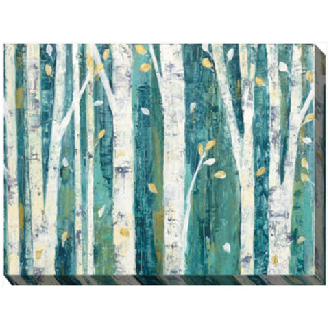 Birches In Teal Outdoor Canvas Art - Outdoor Art Pros