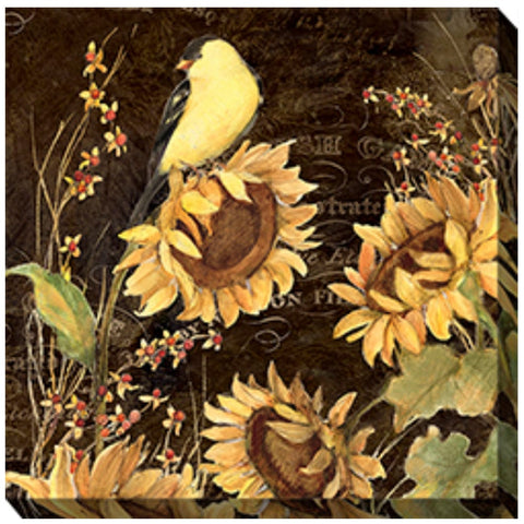 Bird on Sunflower Outdoor Canvas Art - Outdoor Art Pros